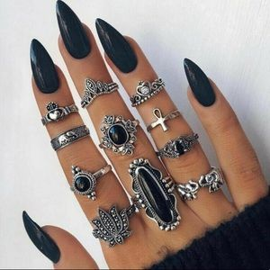 11 piece black and silver ring set